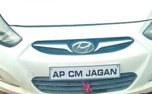 Man uses AP CM Jagan's name on car, held